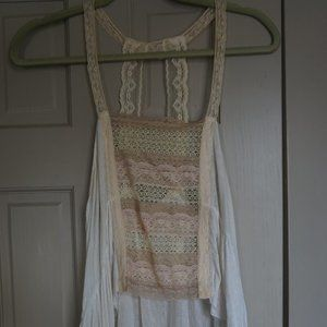 Free People White Lace Tank Top